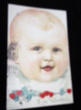 ANTIQUE VALENTINE POSTCARD POSTED NY US 1 CENT STAMP 1907 DUTTON 484 BABY FACE #